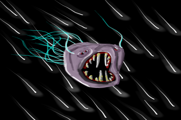 Just a random creature sketched earlier, but it turned out way different from the original. The creature is called a Hyper Slug, and it travels through hyperspace hunting others of their kind or traveling spaceships.