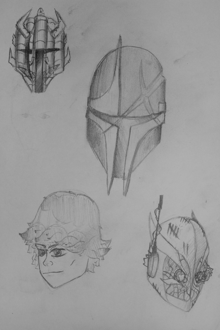 After doing a bit of research on Star Wars The Old Republic and Star Wars 1313,i was inspired to create a dedicated comic series about my own bounty hunter. Here's just a few sketches of ideas i had for his head, but i can't decided on whether i want a helmet or not. So far, the one in the bottom left corner is my favorite.